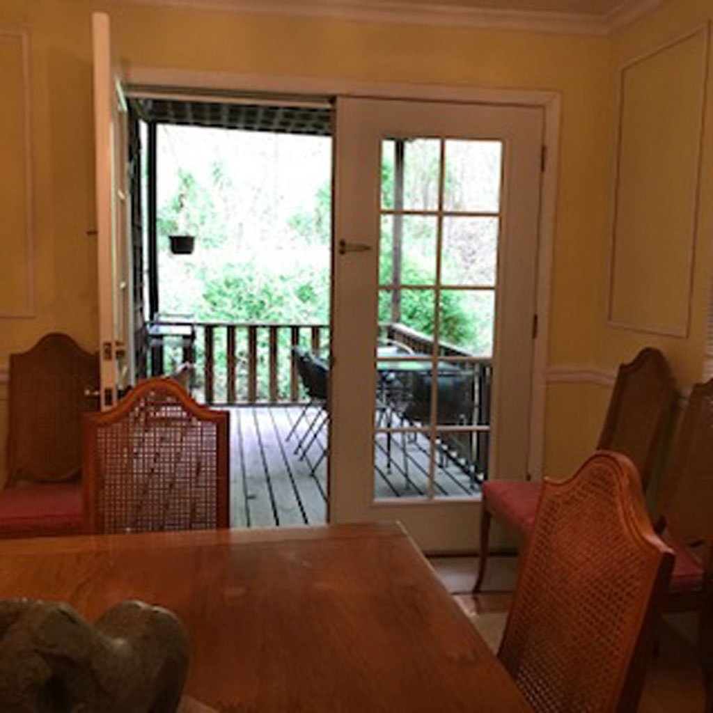 Dining Room with doors to private deck